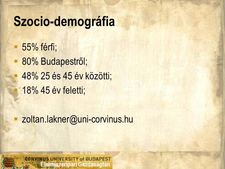 Élelmiszeripari Gazdaságtan Szocio-demográfia  55% férfi;  80% Budapestről;  48% 25 és 45 év közötti;  18% 45 év feletti;  zoltan.lakner@uni-corvinus.hu