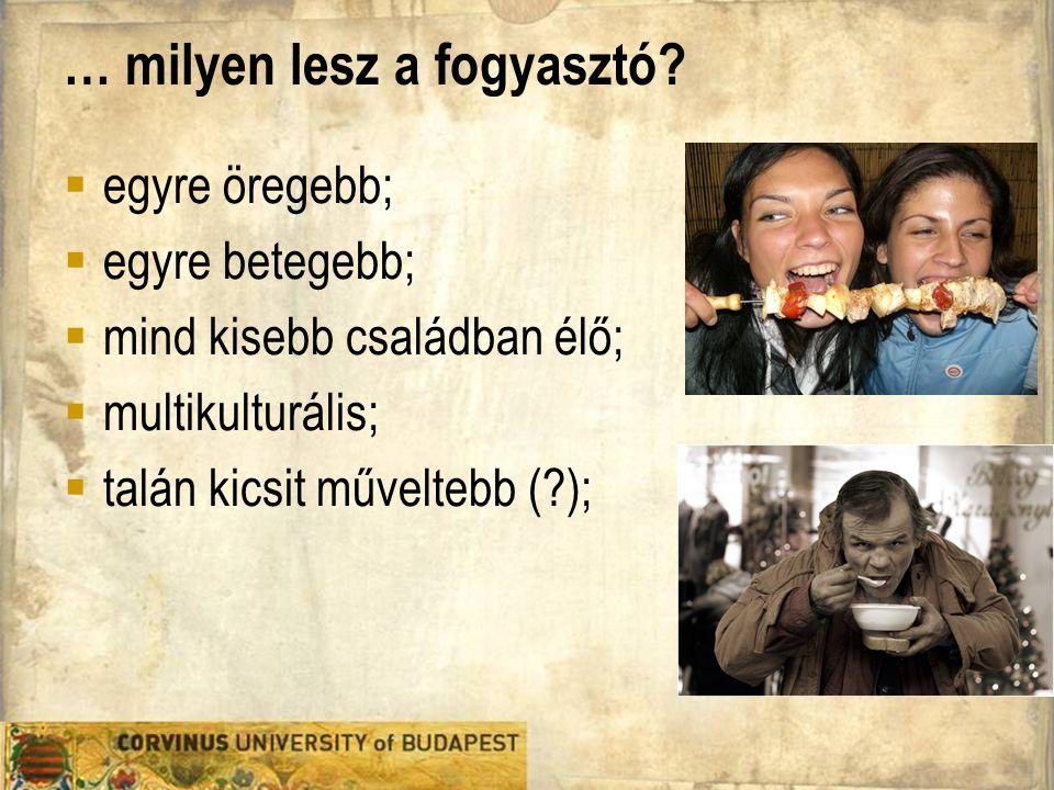 Élelmiszeripari Gazdaságtan A kultúrista Főbb motivációk: folklór, hagyomány, építészet 25-55 év közötti, 35% férfi közép-vagy felsőfokú végzettségű