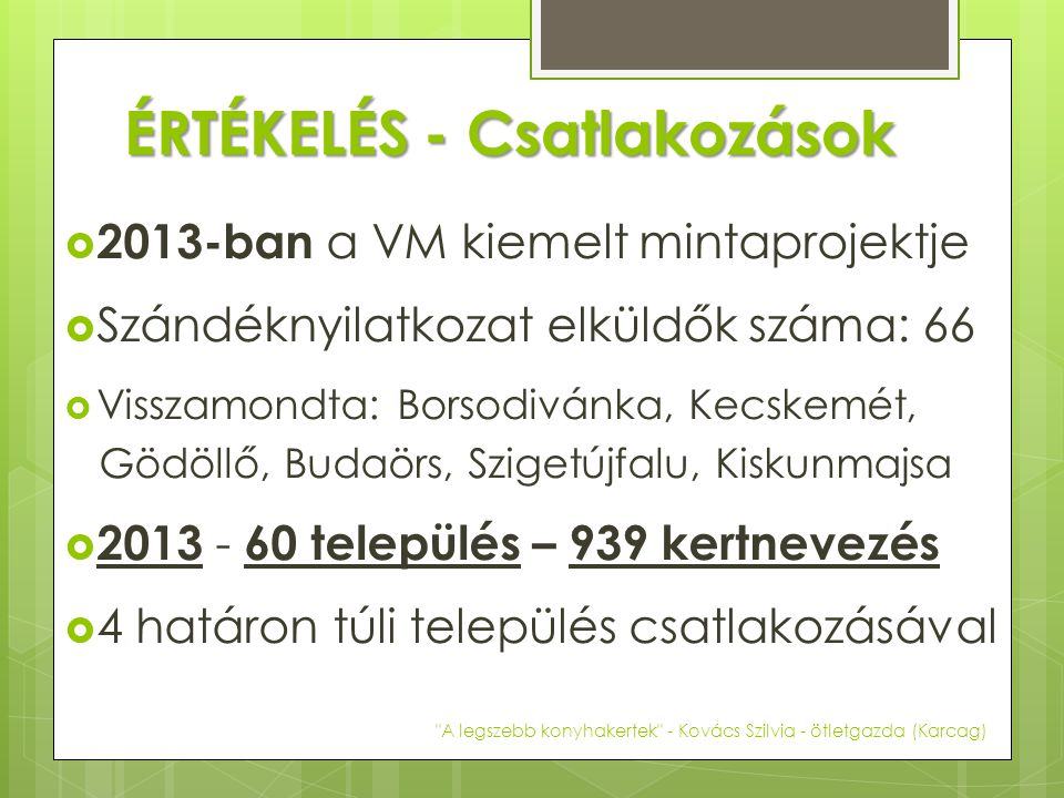 ÉRTÉKELÉS - Csatlakozások  2013-ban a VM kiemelt mintaprojektje  Szándéknyilatkozat elküldők száma: 66  Visszamondta: Borsodivánka, Kecskemét, Gödö