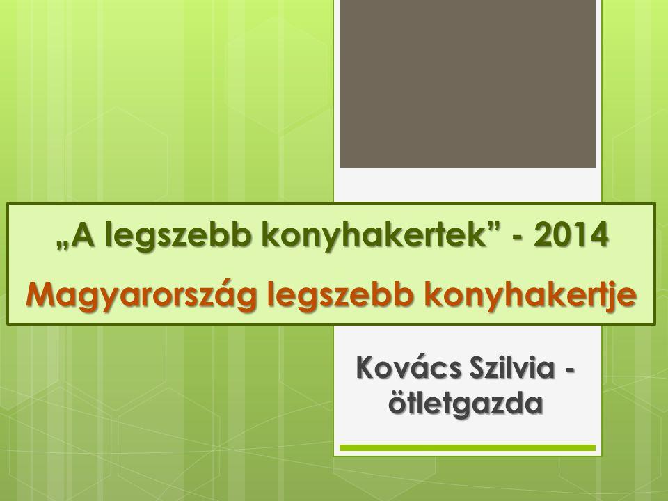 """""""A legszebb konyhakertek"""" - 2014 Magyarország legszebb konyhakertje Kovács Szilvia - ötletgazda"""