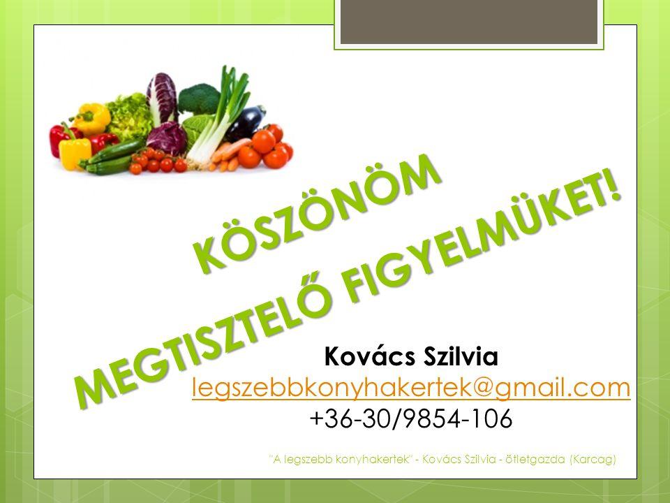 KÖSZÖNÖM MEGTISZTELŐ FIGYELMÜKET! Kovács Szilvia legszebbkonyhakertek@gmail.com +36-30/9854-106