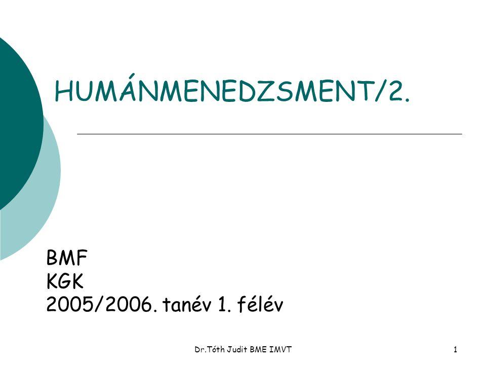 Dr.Tóth Judit BME IMVT11 Az emberi erőforrás sajátosságai l Tartós erőforrás l hosszú életciklus, l a felhasználás hatása l Nem raktározható l Innovatív l Nem tulajdona a cégnek l Döntéseket hoz l Mobilitás l Teljesítmény