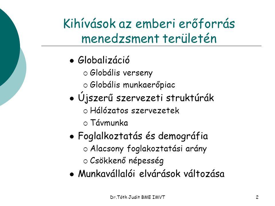 Dr.Tóth Judit BME IMVT22 A motiváció alapja Motivációs modell: ErőfeszítésTeljesítmény Következmény A következmények értéke P(E T) P(T K) Valencia Ösztönzés