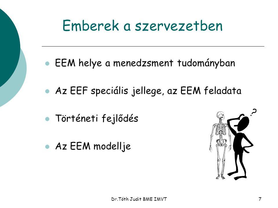 Dr.Tóth Judit BME IMVT7 Emberek a szervezetben l EEM helye a menedzsment tudományban l Az EEF speciális jellege, az EEM feladata l Történeti fejlődés l Az EEM modellje