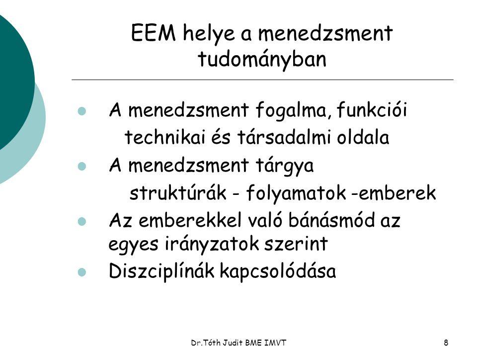 Dr.Tóth Judit BME IMVT8 EEM helye a menedzsment tudományban l A menedzsment fogalma, funkciói technikai és társadalmi oldala l A menedzsment tárgya struktúrák - folyamatok -emberek l Az emberekkel való bánásmód az egyes irányzatok szerint l Diszciplínák kapcsolódása