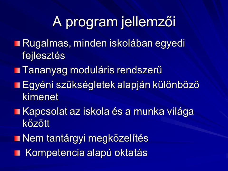 A program jellemzői Rugalmas, minden iskolában egyedi fejlesztés Tananyag moduláris rendszerű Egyéni szükségletek alapján különböző kimenet Kapcsolat az iskola és a munka világa között Nem tantárgyi megközelítés Kompetencia alapú oktatás Kompetencia alapú oktatás