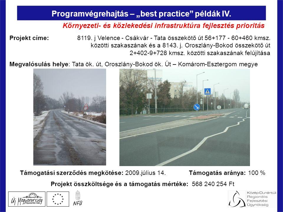 """Programvégrehajtás – """"best practice példák IV. Projekt címe: 8119."""