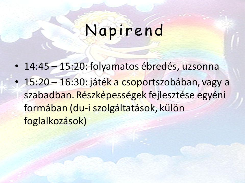 Napirend • 14:45 – 15:20: folyamatos ébredés, uzsonna • 15:20 – 16:30: játék a csoportszobában, vagy a szabadban.