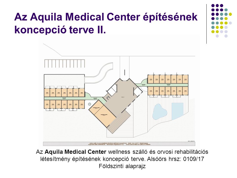 Az Aquila Medical Center építésének koncepció terve II. Az Aquila Medical Center wellness szálló és orvosi rehabilitációs létesítmény építésének konce