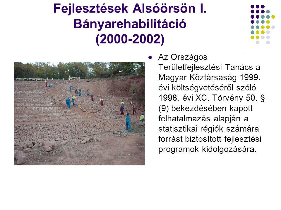 Fejlesztések Alsóörsön I. Bányarehabilitáció (2000-2002)  Az Országos Területfejlesztési Tanács a Magyar Köztársaság 1999. évi költségvetéséről szóló