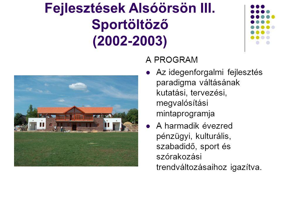 Fejlesztések Alsóörsön III. Sportöltöző (2002-2003) A PROGRAM  Az idegenforgalmi fejlesztés paradigma váltásának kutatási, tervezési, megvalósítási m