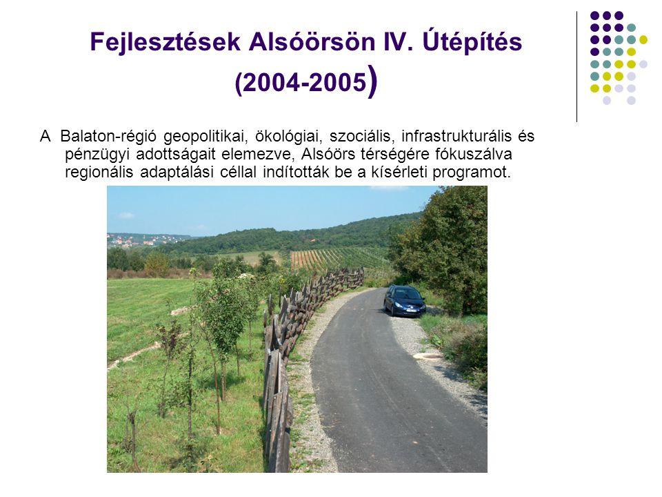 Fejlesztések Alsóörsön IV. Útépítés (2004-2005 ) A Balaton-régió geopolitikai, ökológiai, szociális, infrastrukturális és pénzügyi adottságait elemezv