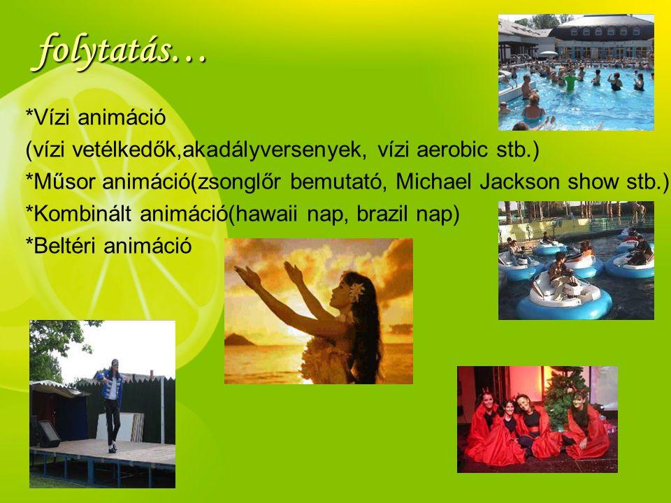 folytatás… *Vízi animáció (vízi vetélkedők,akadályversenyek, vízi aerobic stb.) *Műsor animáció(zsonglőr bemutató, Michael Jackson show stb.) *Kombiná