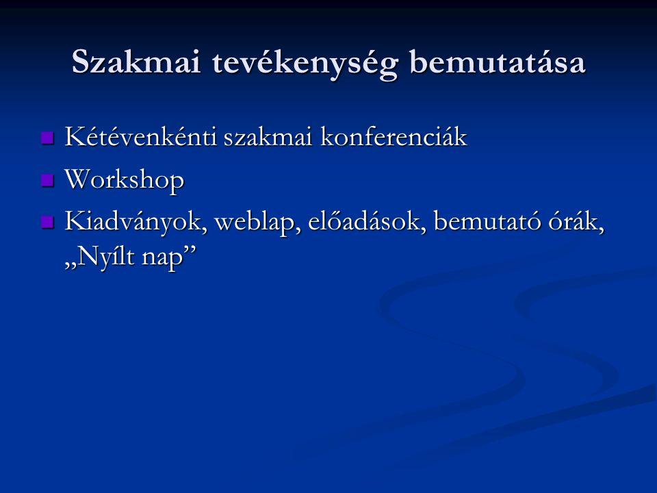 """Szakmai tevékenység bemutatása  Kétévenkénti szakmai konferenciák  Workshop  Kiadványok, weblap, előadások, bemutató órák, """"Nyílt nap"""