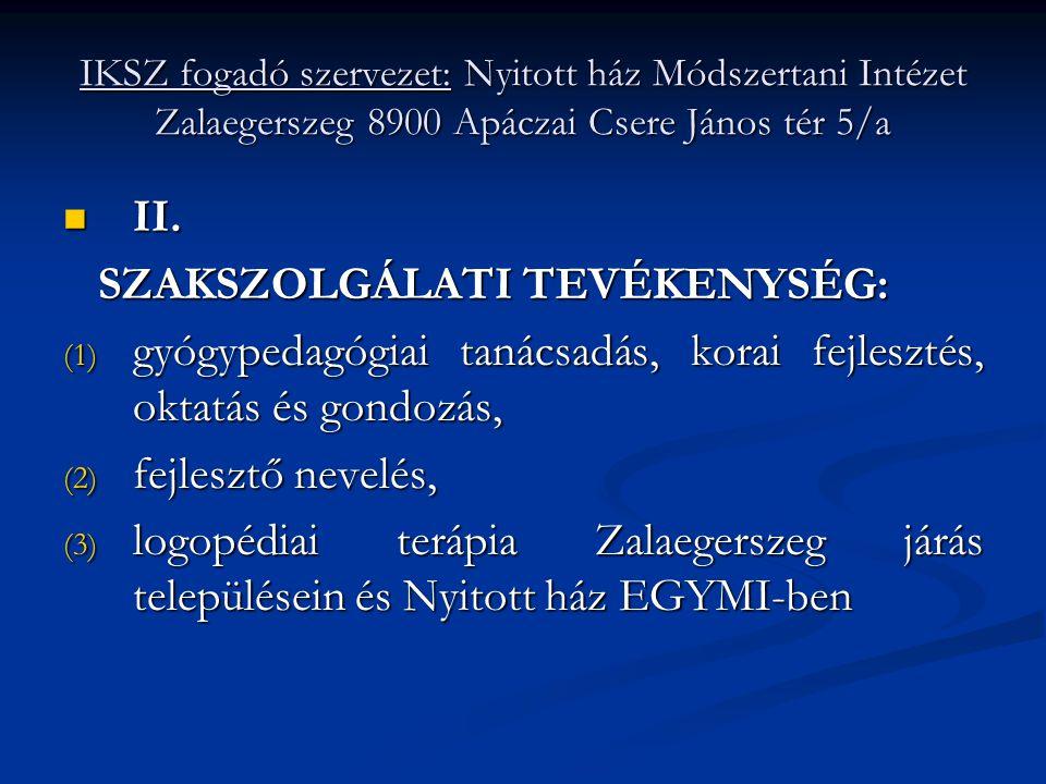 IKSZ fogadó szervezet: Nyitott ház Módszertani Intézet Zalaegerszeg 8900 Apáczai Csere János tér 5/a  II. SZAKSZOLGÁLATI TEVÉKENYSÉG: SZAKSZOLGÁLATI