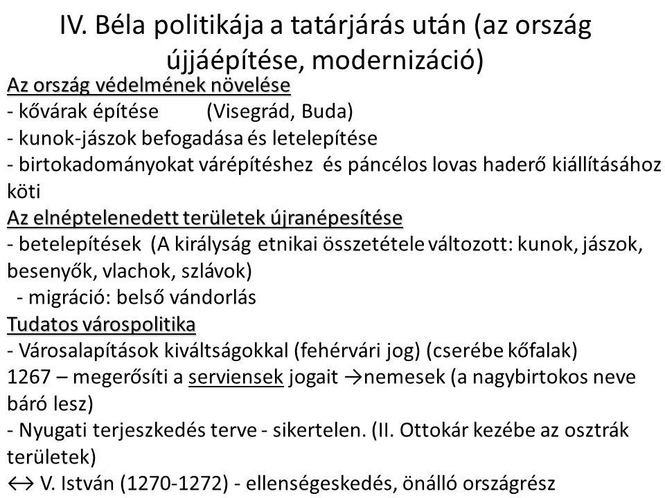 IV. Béla politikája a tatárjárás után (az ország újjáépítése, modernizáció) Az ország védelmének növelése - kővárak építése(Visegrád, Buda) - kunok-já