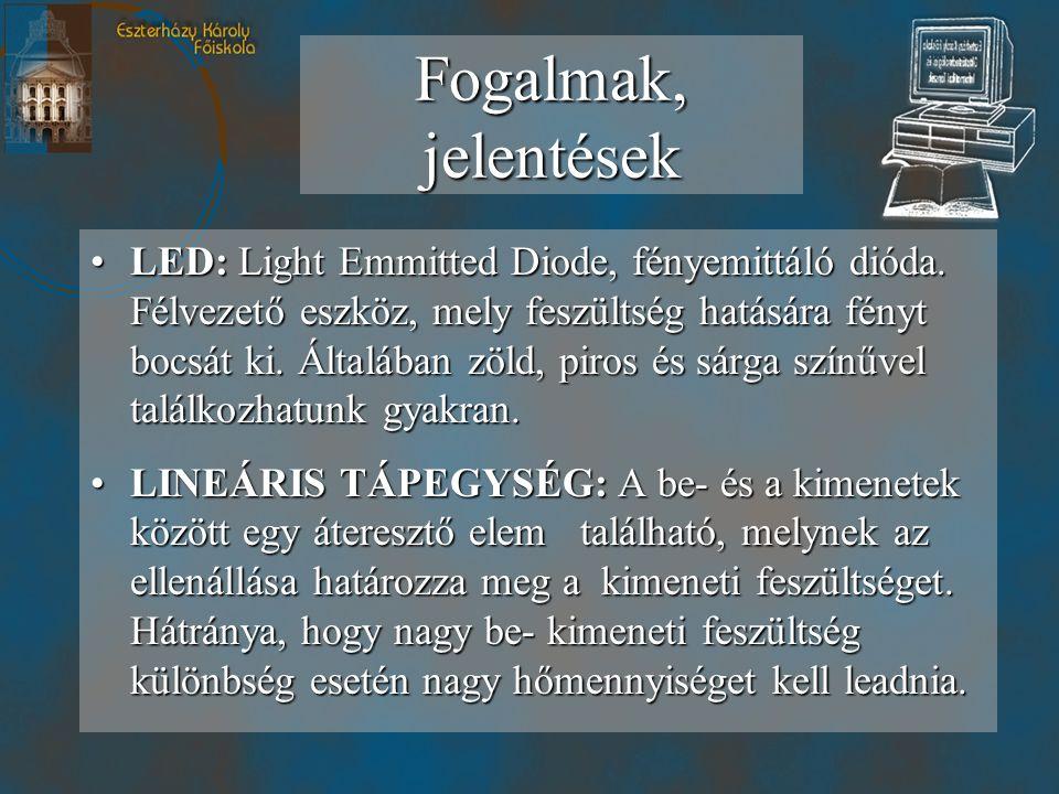 •LED: Light Emmitted Diode, fényemittáló dióda.