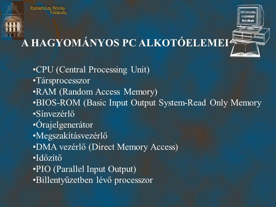 A HAGYOMÁNYOS PC ALKOTÓELEMEI •CPU (Central Processing Unit) •Társprocesszor •RAM (Random Access Memory) •BIOS-ROM (Basic Input Output System-Read Only Memory •Sínvezérlő •Órajelgenerátor •Megszakításvezérlő •DMA vezérlő (Direct Memory Access) •Időzítő •PIO (Parallel Input Output) •Billentyűzetben lévő processzor