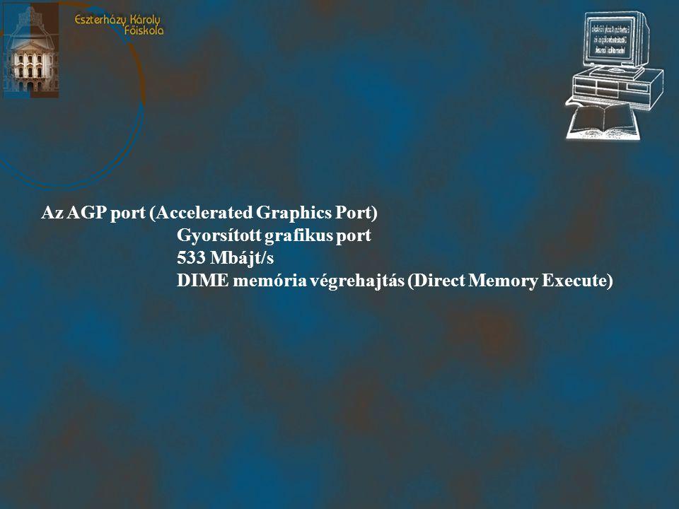 Az AGP port (Accelerated Graphics Port) Gyorsított grafikus port 533 Mbájt/s DIME memória végrehajtás (Direct Memory Execute)