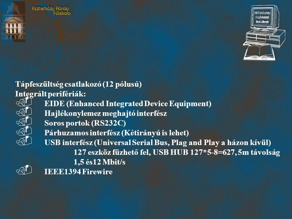 Tápfeszültség csatlakozó (12 pólusú) Integrált perifériák:.