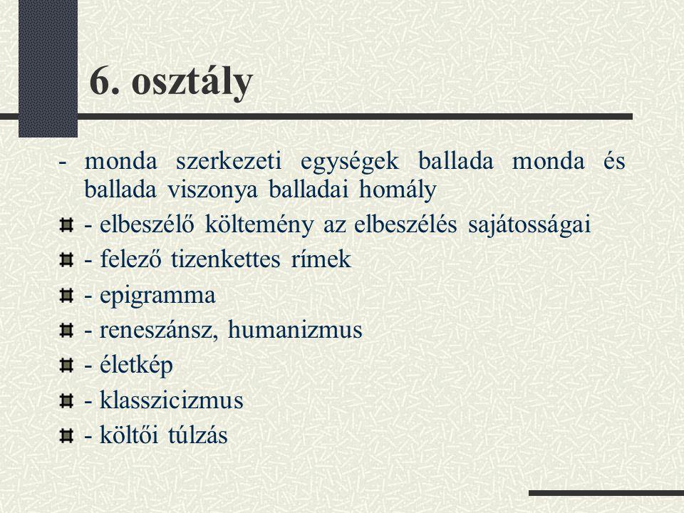 6. osztály - monda szerkezeti egységek ballada monda és ballada viszonya balladai homály - elbeszélő költemény az elbeszélés sajátosságai - felező tiz