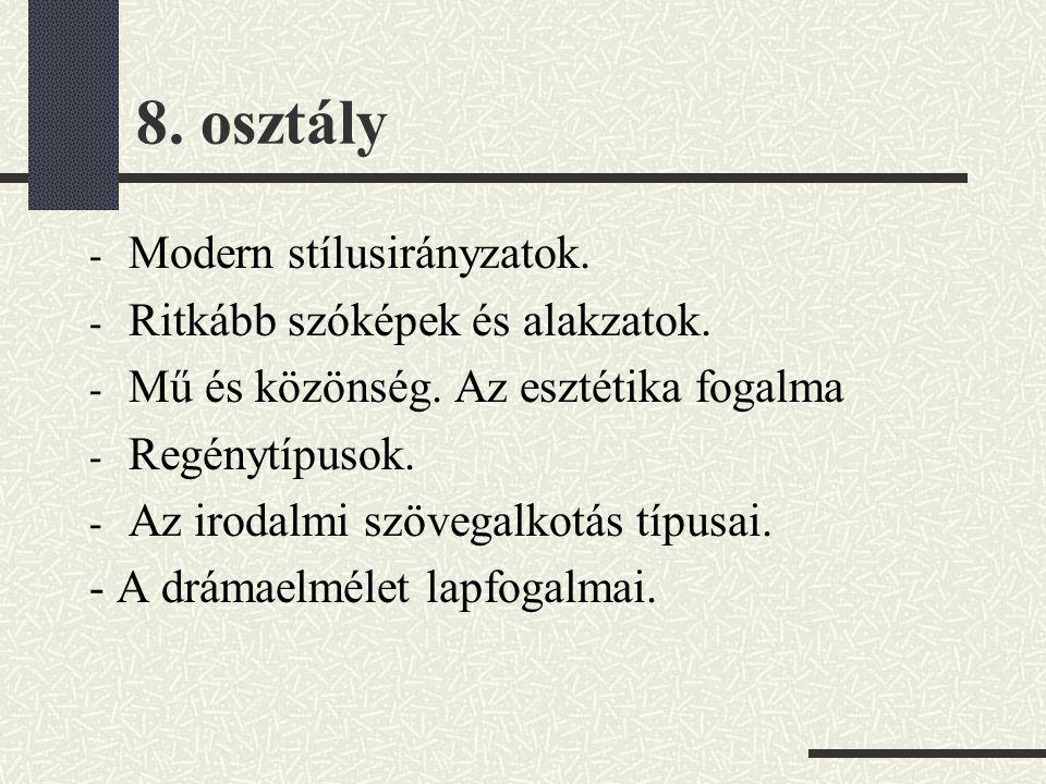 8. osztály - Modern stílusirányzatok. - Ritkább szóképek és alakzatok. - Mű és közönség. Az esztétika fogalma - Regénytípusok. - Az irodalmi szövegalk