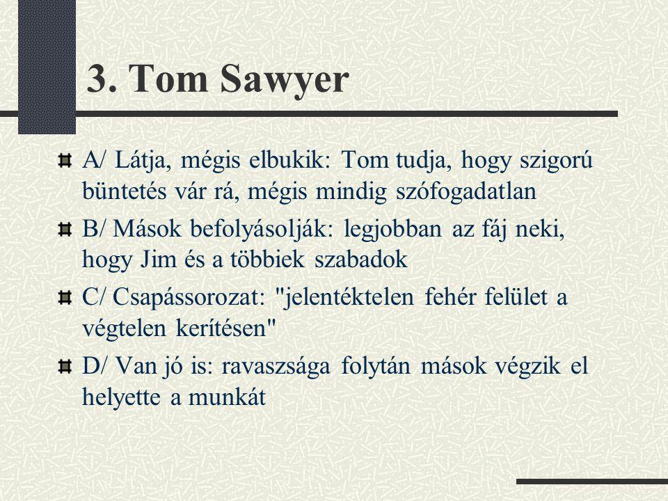 3. Tom Sawyer A/ Látja, mégis elbukik: Tom tudja, hogy szigorú büntetés vár rá, mégis mindig szófogadatlan B/ Mások befolyásolják: legjobban az fáj ne