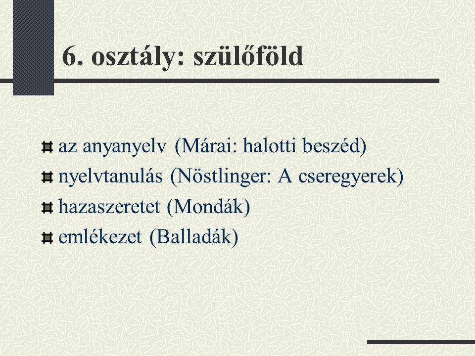 6. osztály: szülőföld az anyanyelv (Márai: halotti beszéd) nyelvtanulás (Nöstlinger: A cseregyerek) hazaszeretet (Mondák) emlékezet (Balladák)