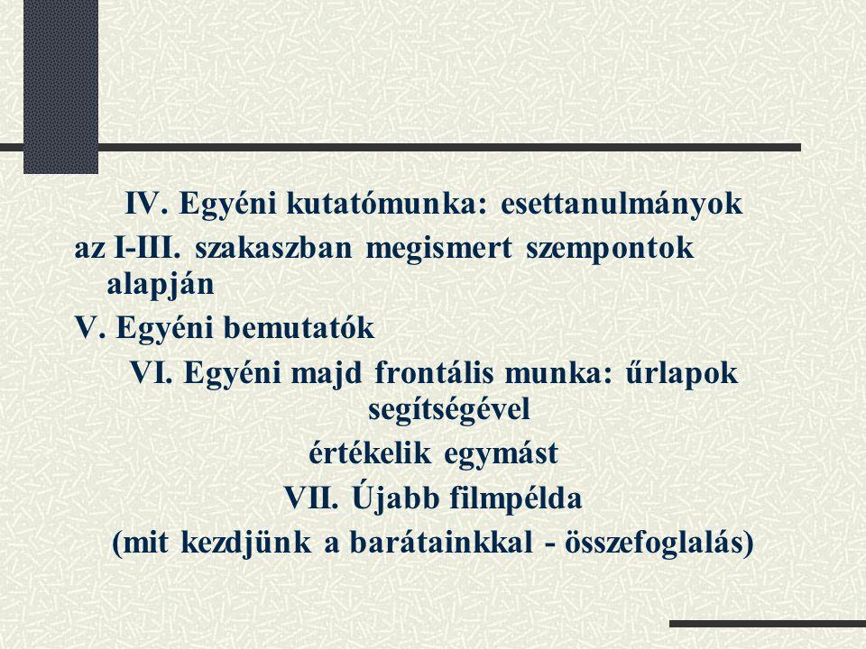 IV. Egyéni kutatómunka: esettanulmányok az I-III. szakaszban megismert szempontok alapján V. Egyéni bemutatók VI. Egyéni majd frontális munka: űrlapok