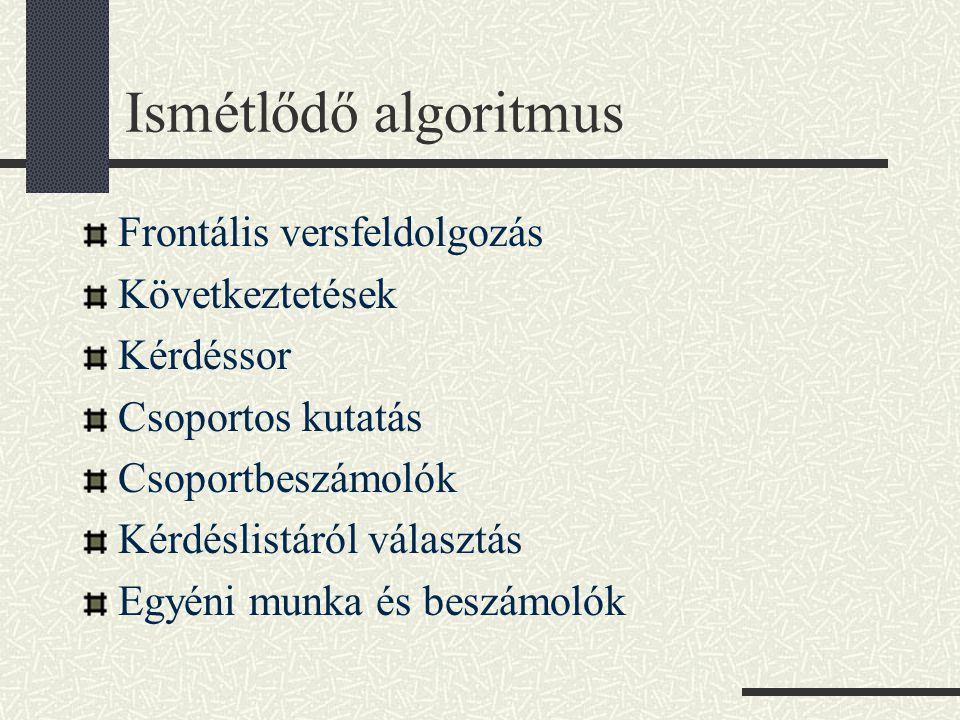 Ismétlődő algoritmus Frontális versfeldolgozás Következtetések Kérdéssor Csoportos kutatás Csoportbeszámolók Kérdéslistáról választás Egyéni munka és