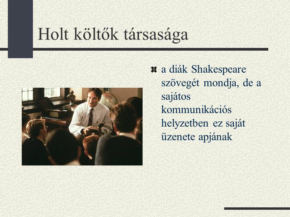 Holt költők társasága a diák Shakespeare szövegét mondja, de a sajátos kommunikációs helyzetben ez saját üzenete apjának