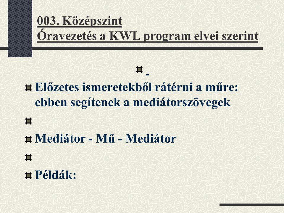 003. Középszint Óravezetés a KWL program elvei szerint Előzetes ismeretekből rátérni a műre: ebben segítenek a mediátorszövegek Mediátor - Mű - Mediát