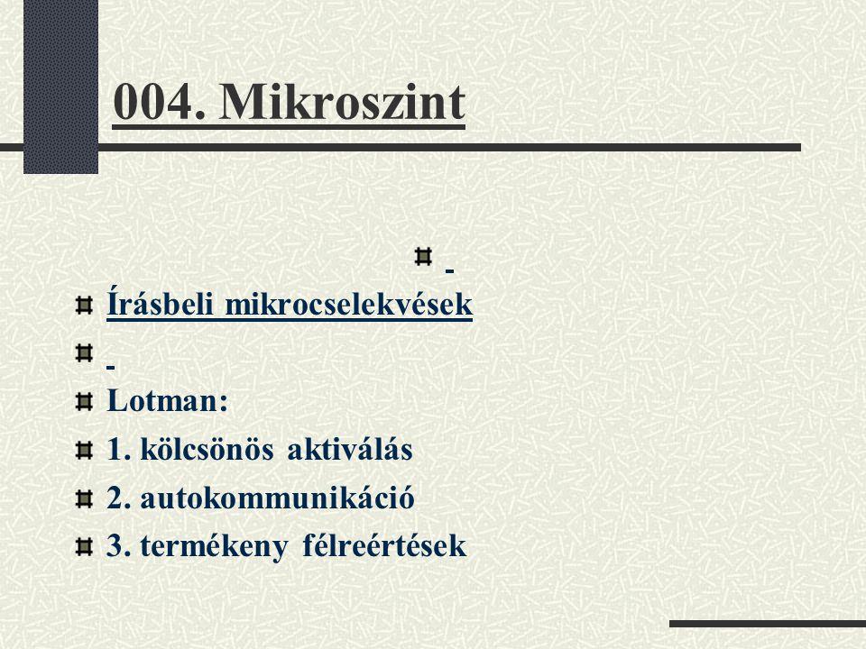 004. Mikroszint Írásbeli mikrocselekvések Lotman: 1. kölcsönös aktiválás 2. autokommunikáció 3. termékeny félreértések