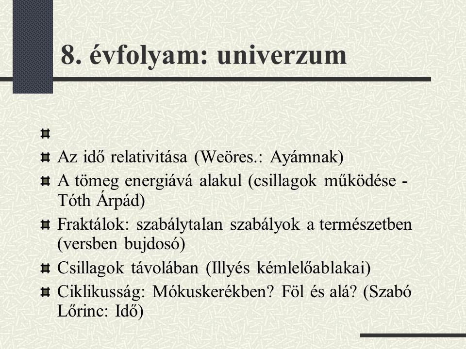 8. évfolyam: univerzum Az idő relativitása (Weöres.: Ayámnak) A tömeg energiává alakul (csillagok működése - Tóth Árpád) Fraktálok: szabálytalan szabá