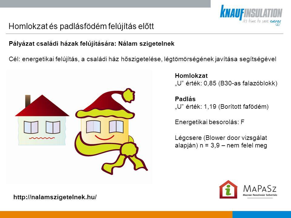 """Homlokzat és padlásfödém szigetelés után Pályázat családi házak felújítására: Nálam szigetelnek Cél: energetikai felújítás, a családi ház hőszigetelése, légtömörségének javítása segítségével http://nalamszigetelnek.hu/ Homlokzat """"U érték: 0,85 → 0,15 W/m 2 ·."""