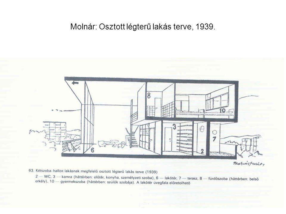 Molnár: Osztott légterű lakás terve, 1939.
