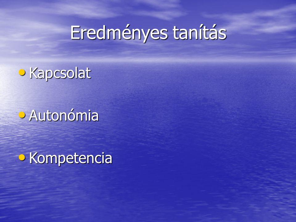 Eredményes tanítás • Kapcsolat • Autonómia • Kompetencia