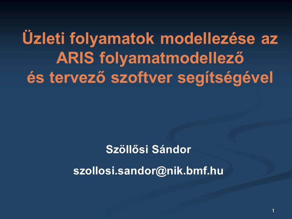 1 Szöllősi Sándor szollosi.sandor@nik.bmf.hu Üzleti folyamatok modellezése az ARIS folyamatmodellező és tervező szoftver segítségével