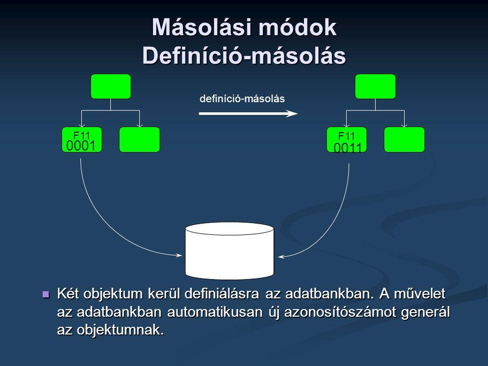  Két objektum kerül definiálásra az adatbankban. A művelet az adatbankban automatikusan új azonosítószámot generál az objektumnak. definíció-másolás