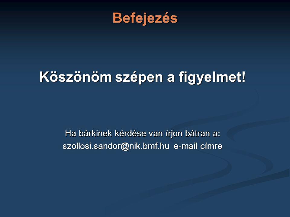 Befejezés Köszönöm szépen a figyelmet! Ha bárkinek kérdése van írjon bátran a: szollosi.sandor@nik.bmf.hu e-mail címre