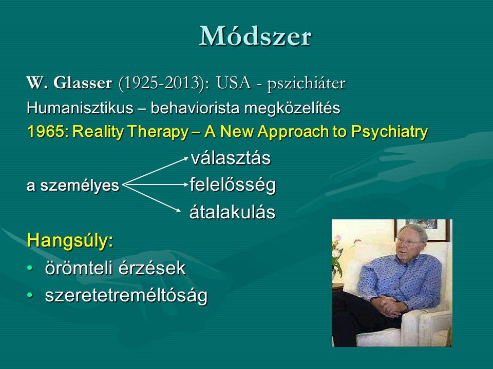 Módszer W. Glasser (1925-2013): USA - pszichiáter Humanisztikus – behaviorista megközelítés 1965: Reality Therapy – A New Approach to Psychiatry válas