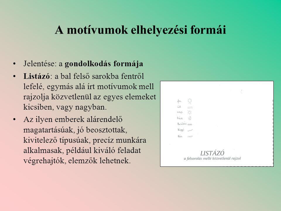 A motívumok elhelyezési formái •Jelentése: a gondolkodás formája •Listázó: a bal felső sarokba fentről lefelé, egymás alá írt motívumok mell rajzolja