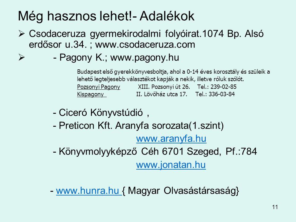 11 Még hasznos lehet!- Adalékok  Csodaceruza gyermekirodalmi folyóirat.1074 Bp. Alsó erdősor u.34. ; www.csodaceruza.com  - Pagony K.; www.pagony.hu