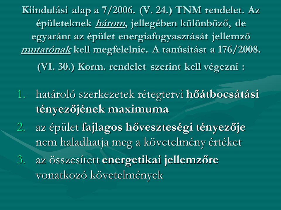 Kiindulási alap a 7/2006. (V. 24.) TNM rendelet. Az épületeknek három, jellegében különböző, de egyaránt az épület energiafogyasztását jellemző mutató