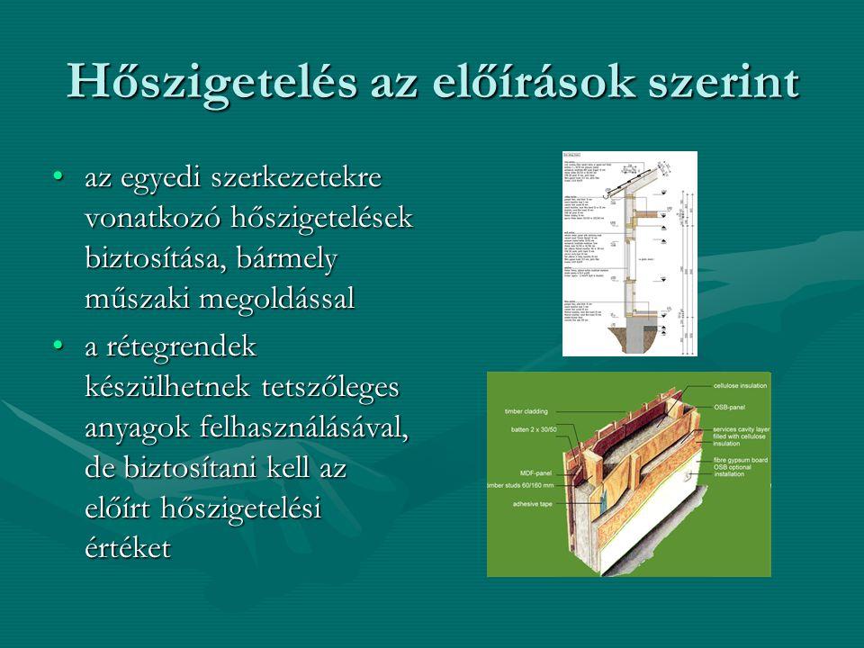 Hőszigetelés az előírások szerint •az egyedi szerkezetekre vonatkozó hőszigetelések biztosítása, bármely műszaki megoldással •a rétegrendek készülhetn