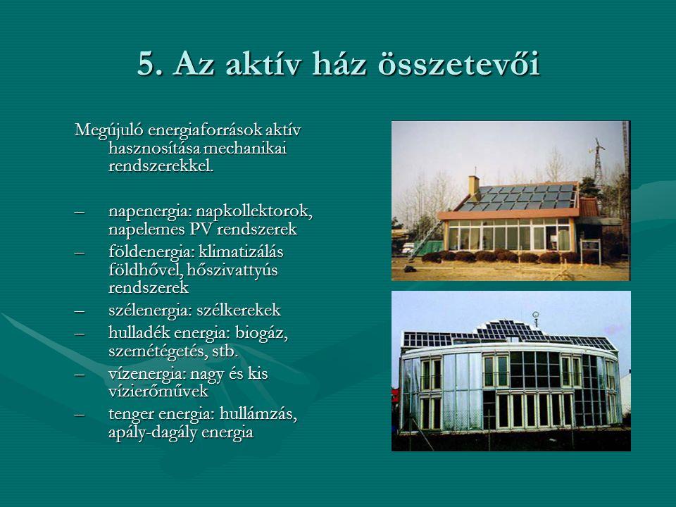 5. Az aktív ház összetevői Megújuló energiaforrások aktív hasznosítása mechanikai rendszerekkel. –napenergia: napkollektorok, napelemes PV rendszerek