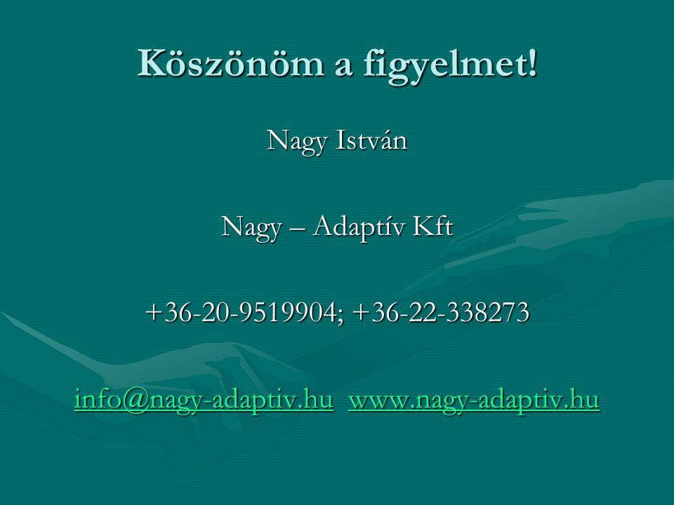 Köszönöm a figyelmet! Nagy István Nagy – Adaptív Kft +36-20-9519904; +36-22-338273 info@nagy-adaptiv.huinfo@nagy-adaptiv.hu www.nagy-adaptiv.hu www.na