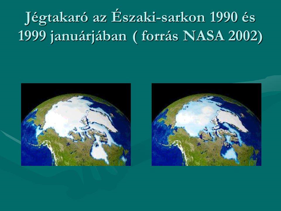 Jégtakaró az Északi-sarkon 1990 és 1999 januárjában ( forrás NASA 2002)