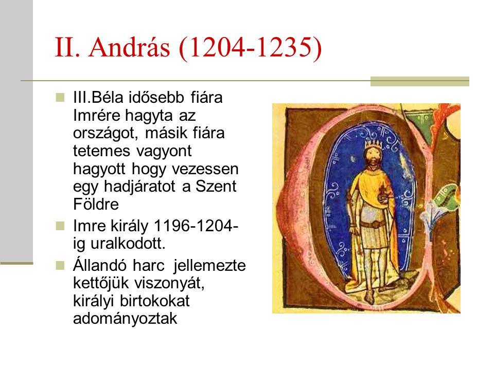 II. András (1204-1235)  III.Béla idősebb fiára Imrére hagyta az országot, másik fiára tetemes vagyont hagyott hogy vezessen egy hadjáratot a Szent Fö