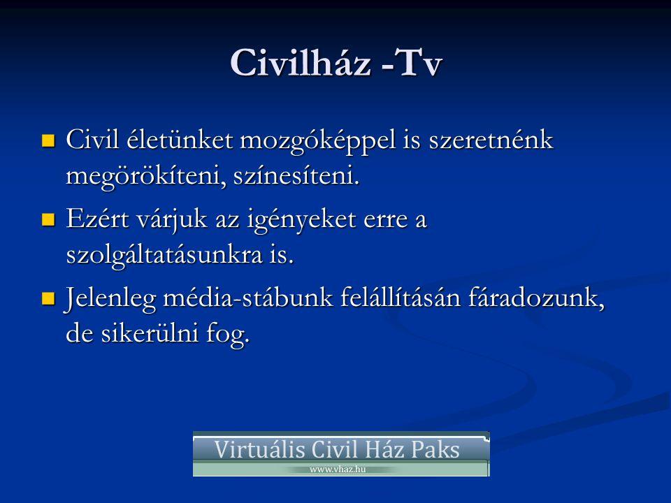 Civilház -Tv  Civil életünket mozgóképpel is szeretnénk megörökíteni, színesíteni.  Ezért várjuk az igényeket erre a szolgáltatásunkra is.  Jelenle